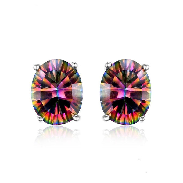 Sterling Silver with 1.5ct Fire Rainbow Mystic Topaz Earrings Studs 1152