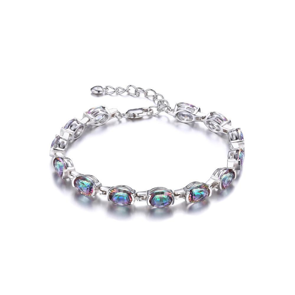 Sterling Silver with 20ct Concave Oval Natural Mystic Rainbow Topaz Bracelet 1165