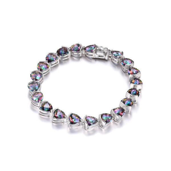 Sterling Silver with 25.4ct Trillion Rainbow Fire Mystic Topaz Bracelet 1167