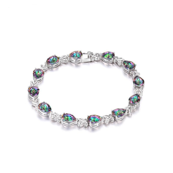 Sterling Silver with 25.4ct Genuine Rainbow Fire Mystic Topaz bracelets 1166