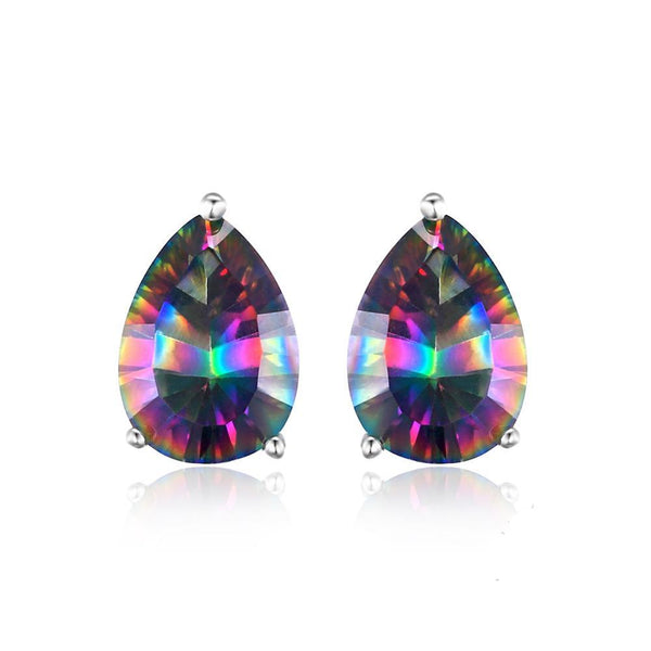 Sterling Silver with 4.7ct Genuine Rainbow Fire Mystic Topaz Stud Earrings 1173