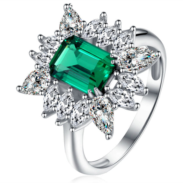 1.5 Carats Green CZ Sterling Silver Wedding Ring 1001