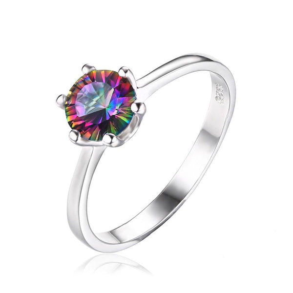 Unique Mystic Fire Rainbow Ring with Topaz on Sterling Silver 1ct 1194