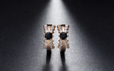 Classical Gold Clear/Black Cubic Zirconia Stud Earrings 1620