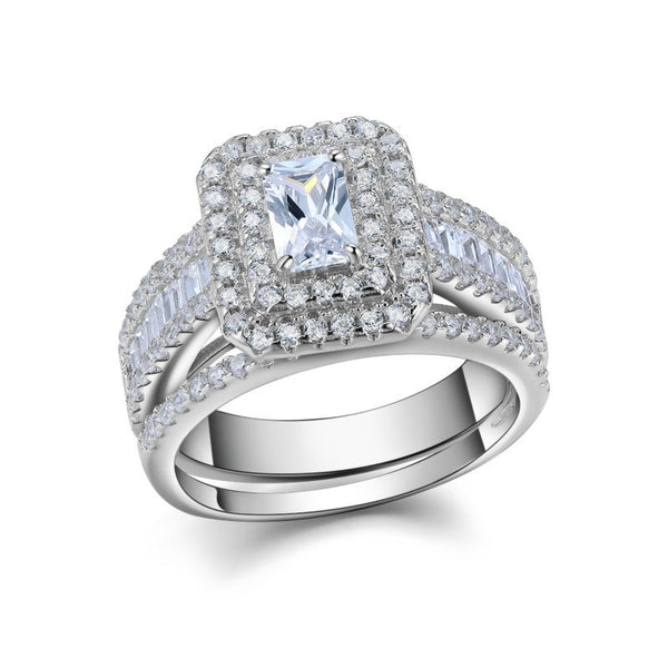 1.6 Carats CZ Sterling Silver Ring with Band 1004