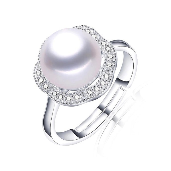 Beautiful Adjustable Flower Sterling Silver Ring with Pearl 1025
