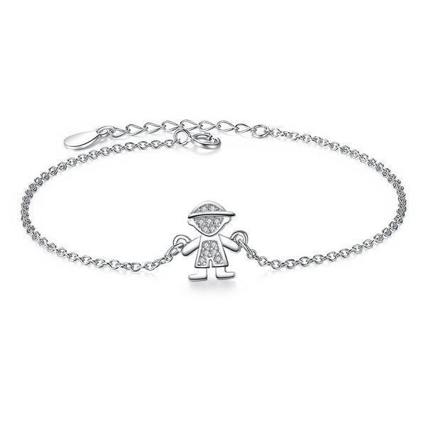 Sterling Silver Cute Boy Pendant bracelet with Crystal 1322