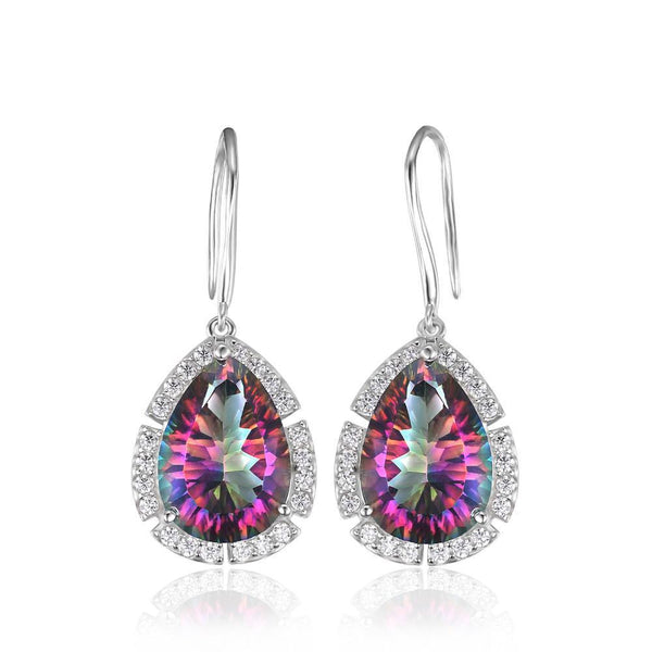 Sterling Silver with 14.5ct Fire Rainbow Mystic Topaz Drop Earrings 1158