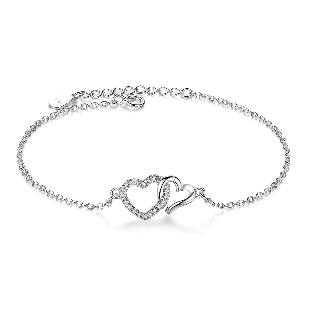 Sterling Silver Link Chain Bracelet Forever Interlocking Love Heart 1293