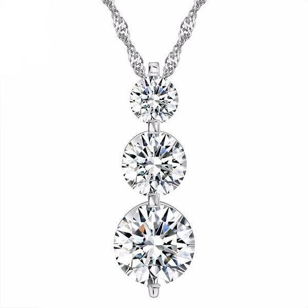 3 Piece Clear Cubic Zirconia Pendant Necklaces 1587