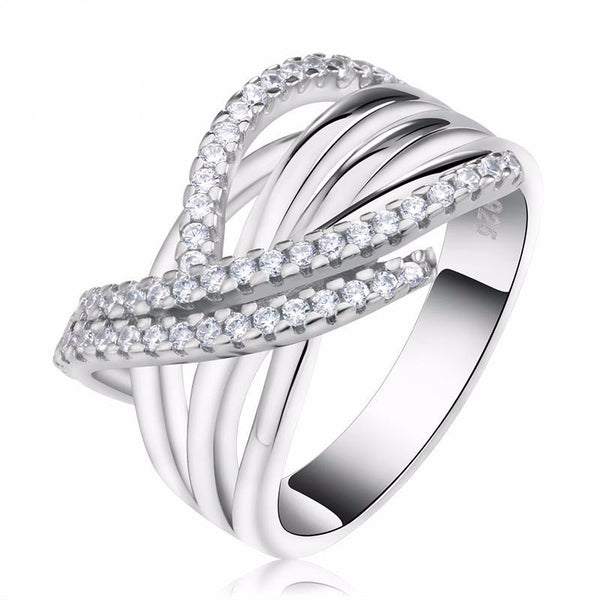 Crossed Silver Ring with 48 Pieces Cubic Zirconia 1607