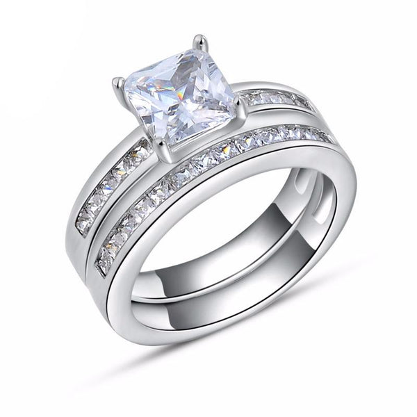 1ct Square Crystal Silver Cubic Zirconia Ring Set 1600