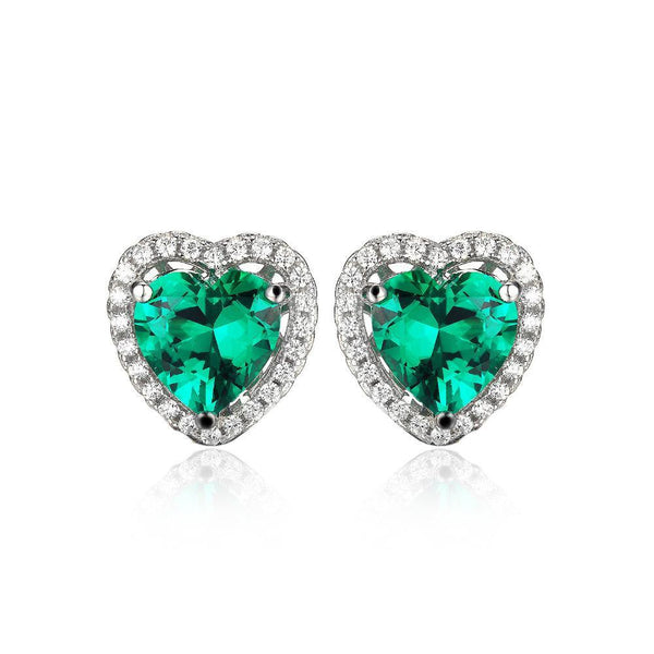 Sterling Silver with Created Emerald Stud Earrings 1183
