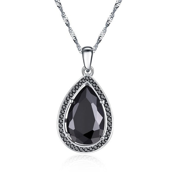 Pendant Necklace with White or Black Cubic Zircon 1269