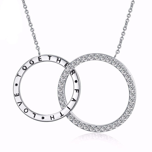 Faith Love Double Round Long Chain Austrian Cubic Zircon Necklace 1602