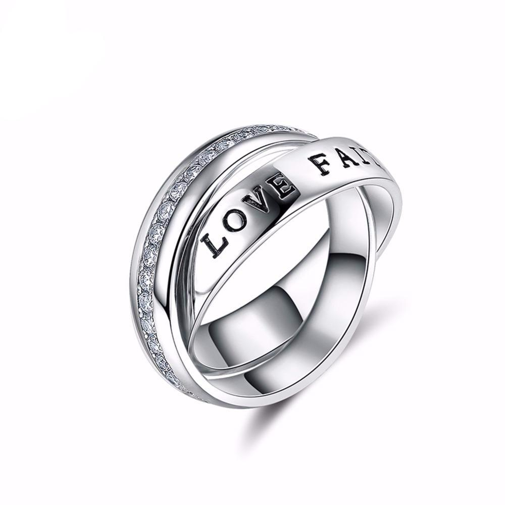 Love Faith Hope Micro Paved CZ Double Ring 1603