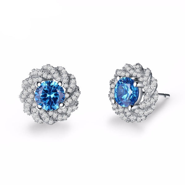 0.7ct Blue Cubic Zirconia Color Stud Earring 1367
