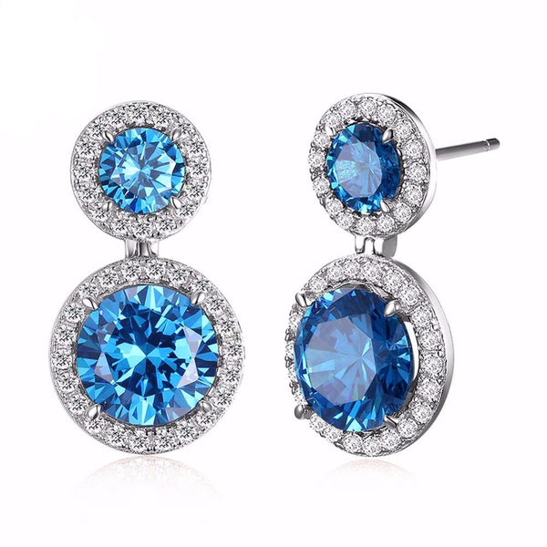 Beautiful Dangling Blue Cubic Zirconia Micro Paved CZ Earrings 1592