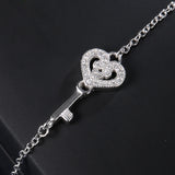 Sterling Silver Key & Heart Bracelet with Crystal Chain 1318