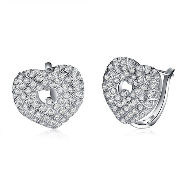 Luxury Heart Shape Earrings with Cubic Zirconia Stone 1393