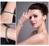 Sterling Silver with 5.8ct Created Emerald Bracelet 1176