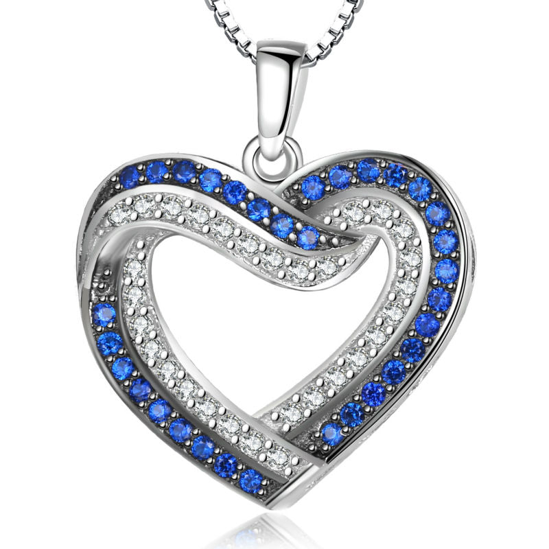 Blue and White CZ Heart Pendant with Sterling Silver Chain 1055