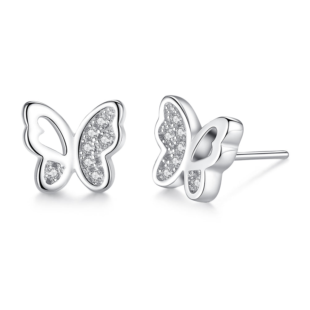 Sterling Silver Butterfly Design with Cubic Zircon Earrings 1391