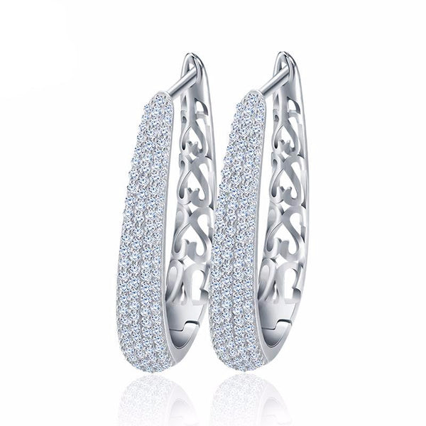 Paved AAA Austrian Cubic Zirconia Hoop Earrings 1613