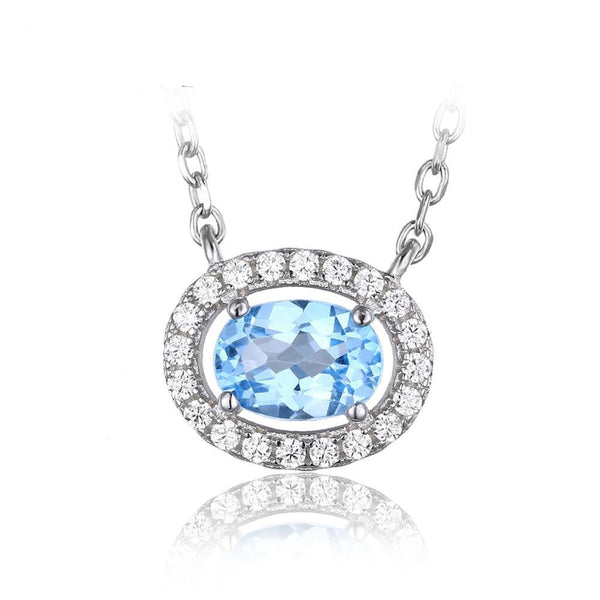 1ct Natural Blue Topaz on Sterling Silver Pendant with 45cm Chain 1257