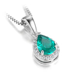 0.7ct Water Created Emerald Pendants on Sterling Silver 1212