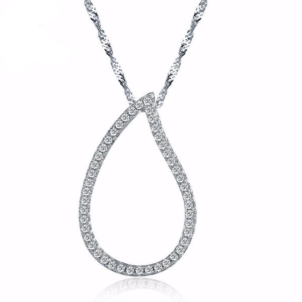 Simple Tear Drop Long Chain AAA Austrian Cubic Zirconia Pendant Necklace 1605