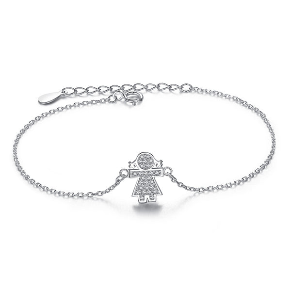 Sterling Silver Girl Charm with Crystal Bracelet 1319