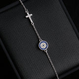 Sterling Silver Cross & Blue Crystal Round Shape Bracelet 1321