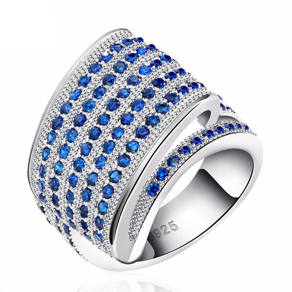Luxury Blue Micro Austrian Cubic Zirconia Ring 1610