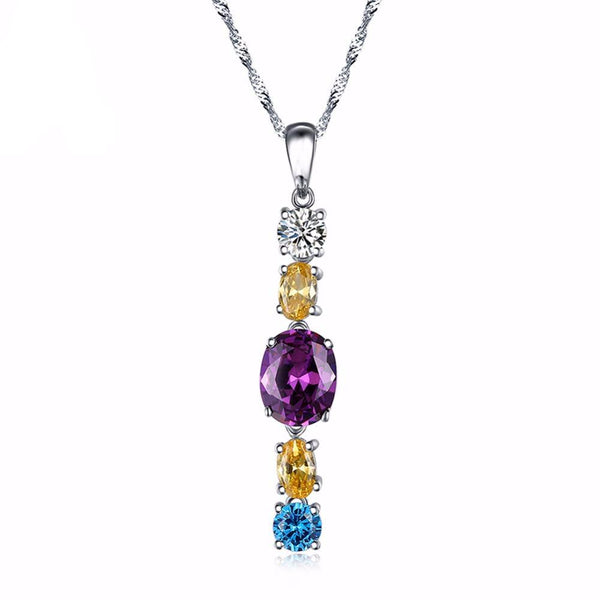 5 Pieces Multicolor Sterling Silver Pendant Necklace 1588