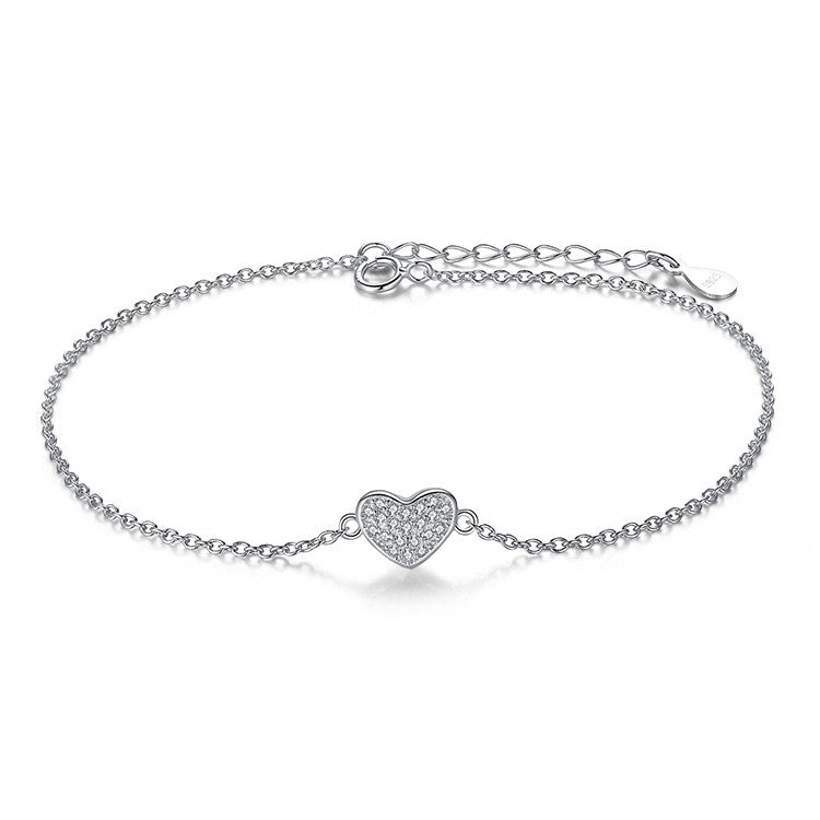 Sterling Silver Exquisite Love Heart Bracelet 1314