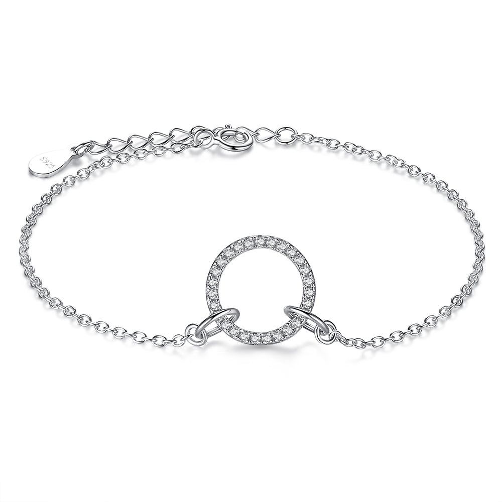 Sterling Silver Bracelet Crystal Accented Circular Hearts Of Bands Charm 1280