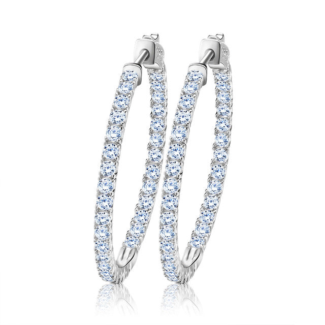 Polished Hoop Earrings with Austrian Cubic Zirconia 1394