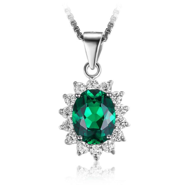 Created Emerald on Sterling Silver Pendant 1253