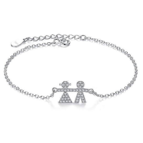 Sterling Silver Mom & Daughter Chain Bracelet 1325