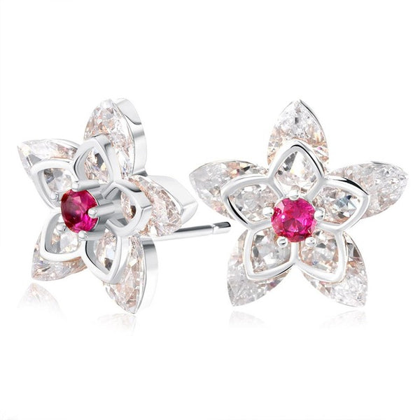 Flower Crystal Paved Austrian Cubic Zirconia Stud Earrings 1618