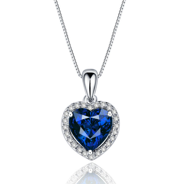 Ocean Blue Heart CZ Pendant with Sterling Silver Necklace 1090