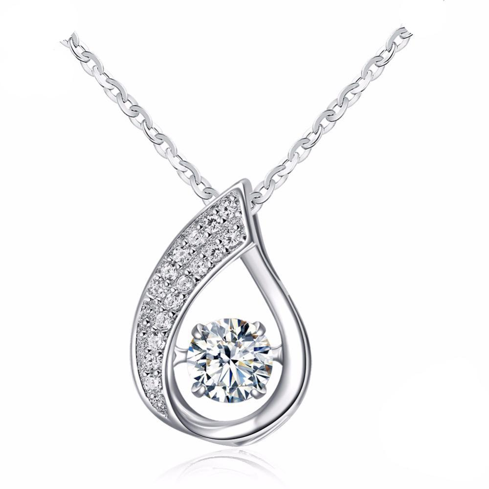 Sterling Silver Pendant with Movable Shiny Cubic Zirconia 1265