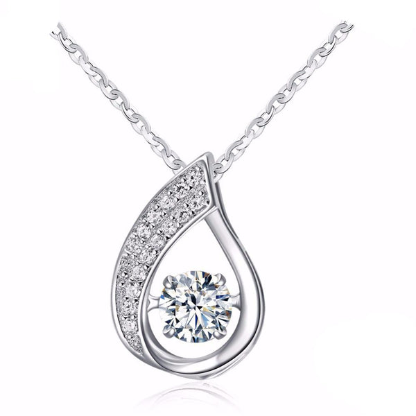 Shiny Sterling Silver Water-Drop Pendant Necklace 1594