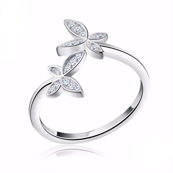 Adjustable Sterling Silver Butterfly Ring with Austrian Cubic Zirconia 1621