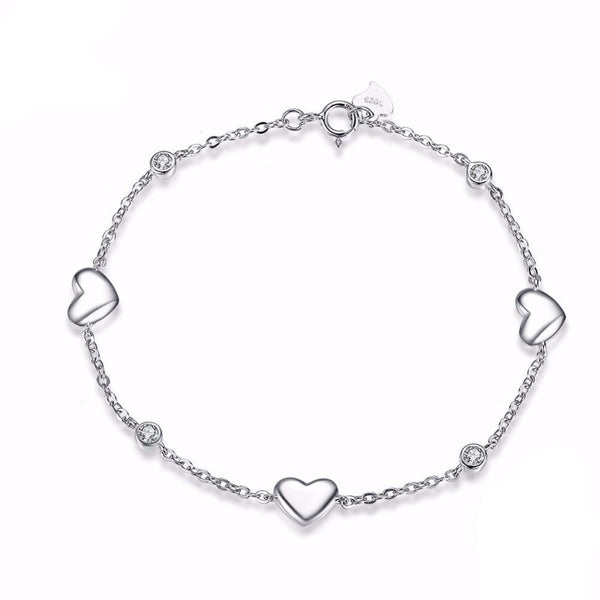 925 Sterling Silver 3 Pieces Heart Charm Bracelet 1615