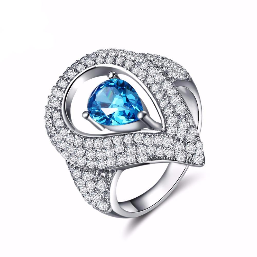 0.7ct Austrian Cubic Zirconia Water Drop Blue Stone Ring 1598