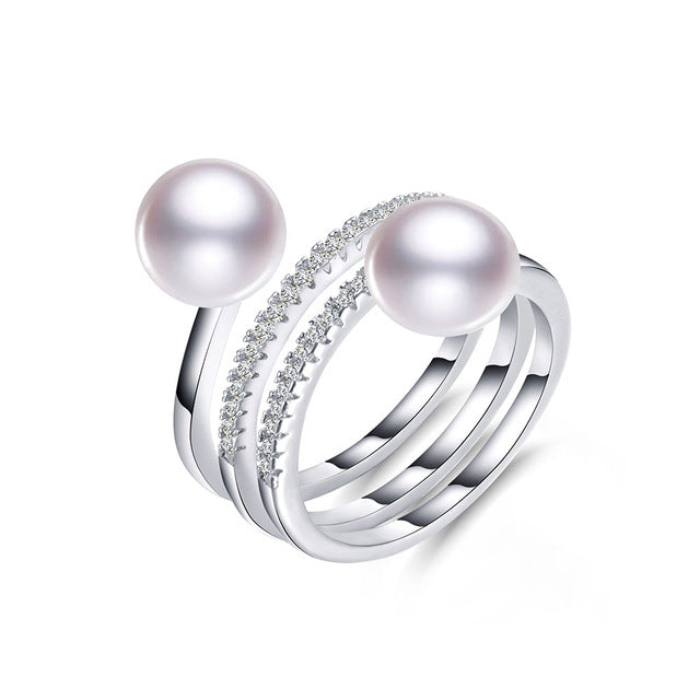 Elegant Double Luster Ring with Natural Pearl 1067