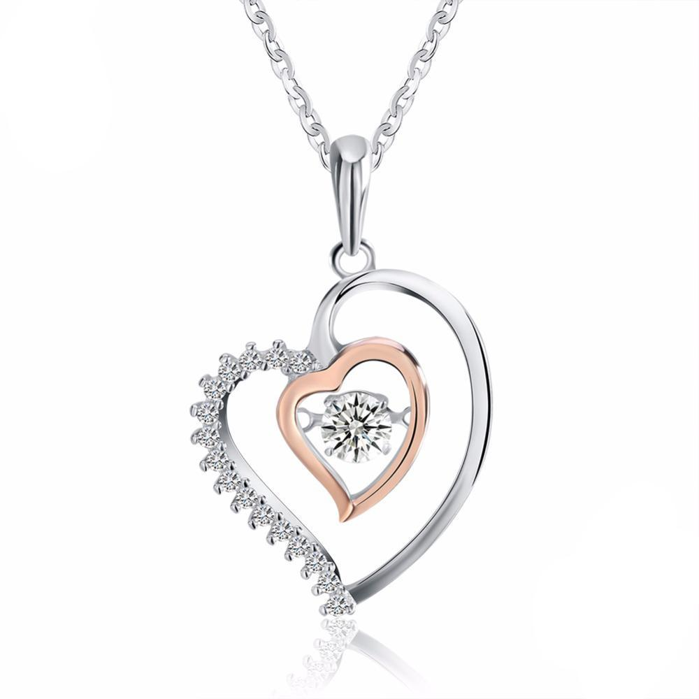 Silver Double Heart Pendant Necklace with 0.3 ct Crystal Rhodium chain 1267