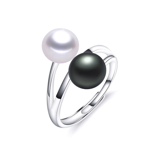 Beautiful Double Pearl Ring on Sterling Silver 8-9mm 1033